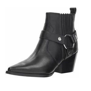 Marc Fisher Halie Black Leather Western Bootie